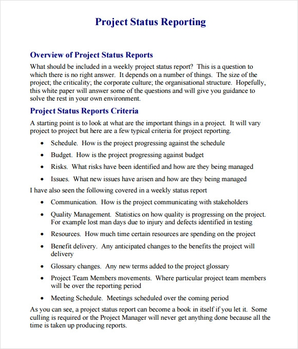 Project Status Report Template 9 Free Samples