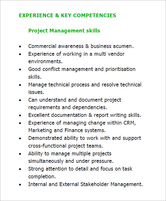 10 project manager resume templates  u2013 free samples