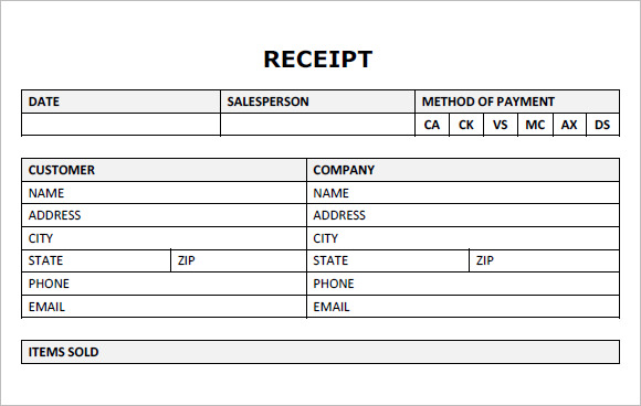 10 Blank Receipt Templates Free Samples Examples Format – Blank Receipts Templates