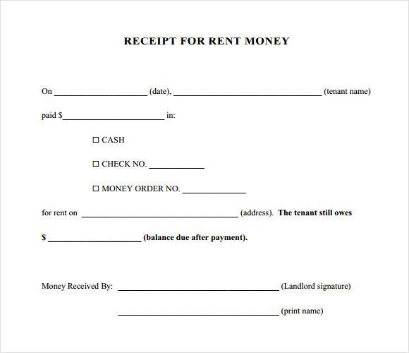 printable rent receipt template .