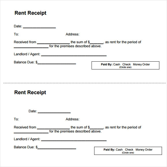 rent receipt template free