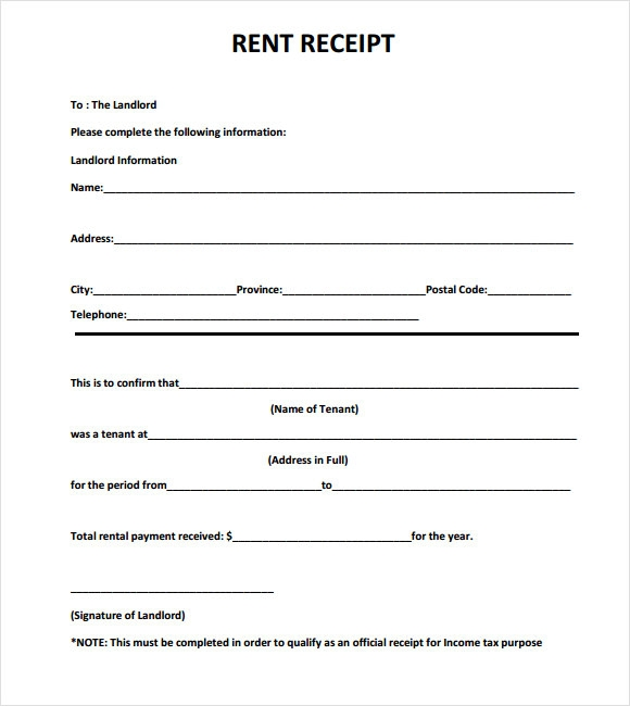 sample rent receipt for income tax