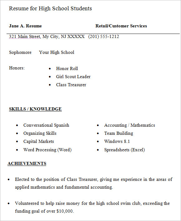 Free 9 High School Resume Templates In Pdf Word