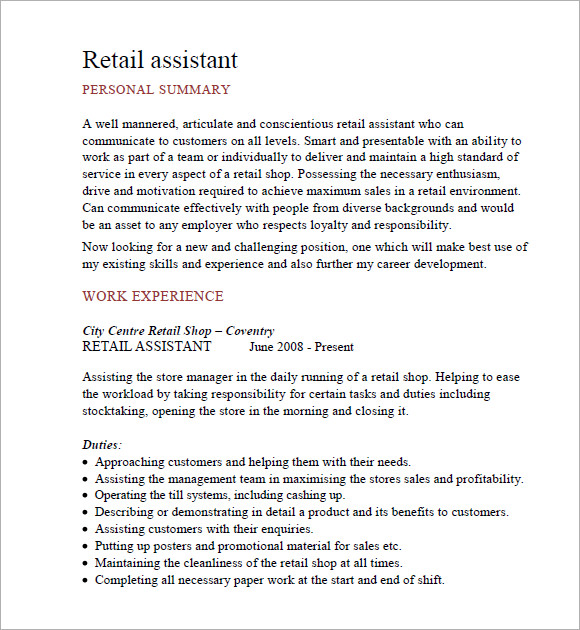 Buy Original Essay - cv example for retail assistant