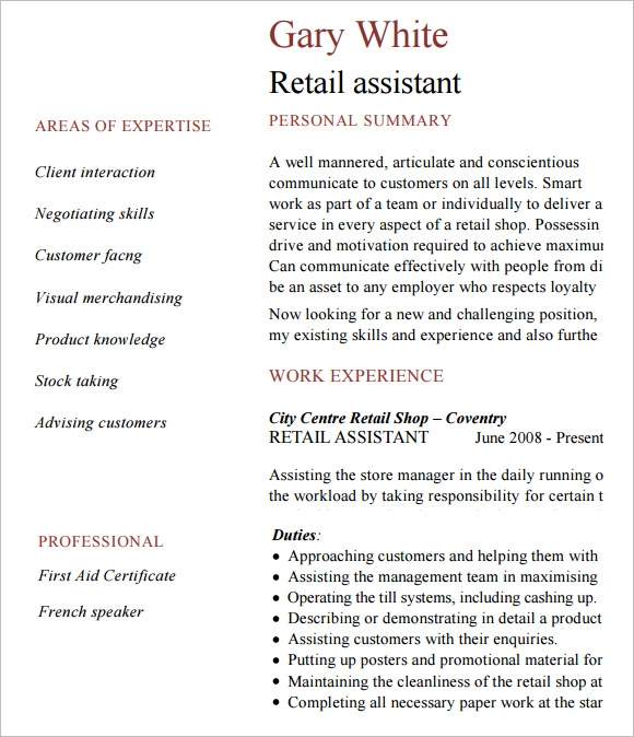 retail resume  u2013 9  samples   examples   format