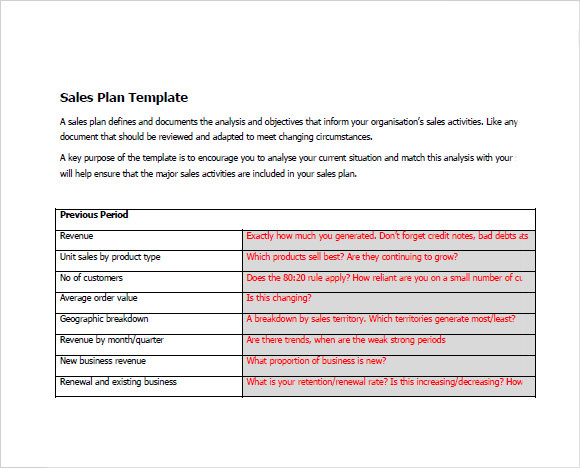Sample Sales Plan   Example Format