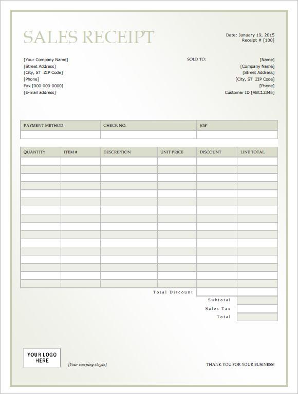 receipt of sale template
