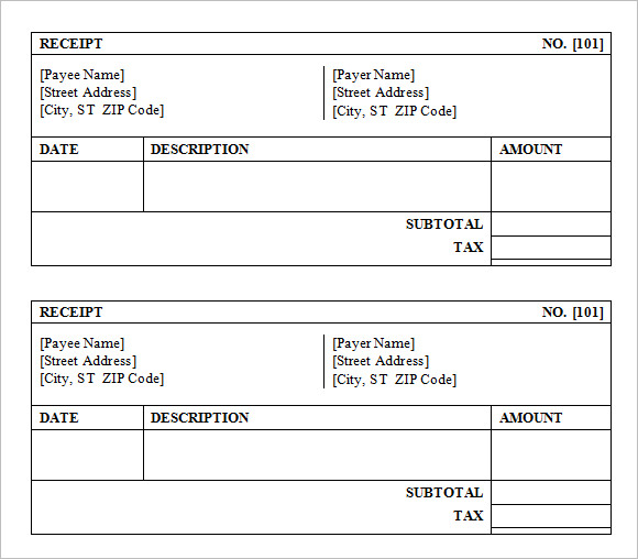 sales receipt template free download .