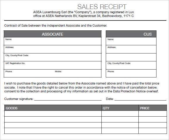 sales receipt template 3