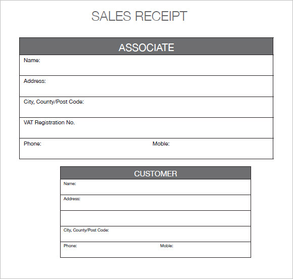 Printable Sales Receipt Template Trattorialeondoro
