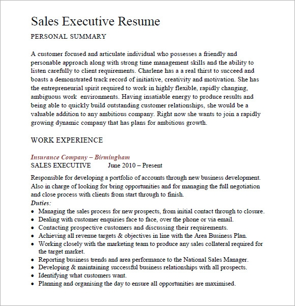 Sales Resume   Free Samples Examples Format