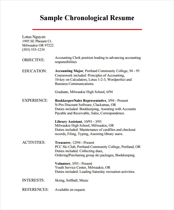 chronological resume 9 sles exles format