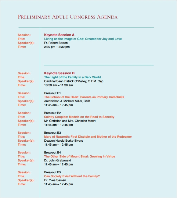 Good Sample Conference Agenda  Agenda Meeting Example