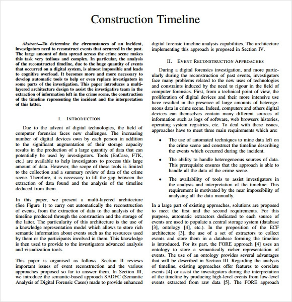 Sample Construction Timeline   Documents In Pdf Word