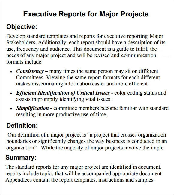 Sample Executive Report   Documents I N Pdf Word