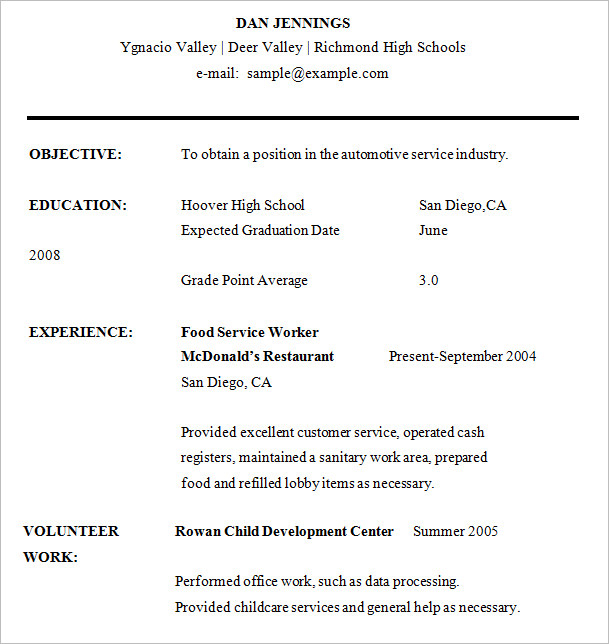 Resume Sample High School Student Resume Template Microsoft Word