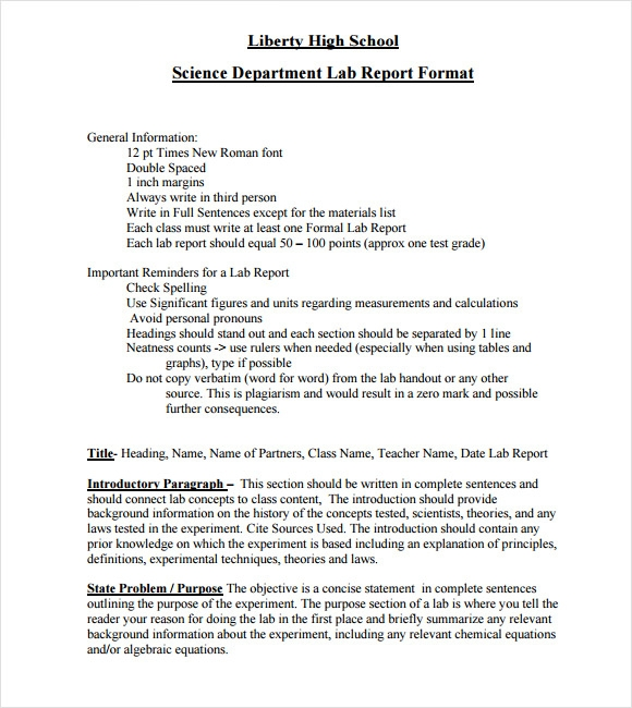 laboratory report template columbia