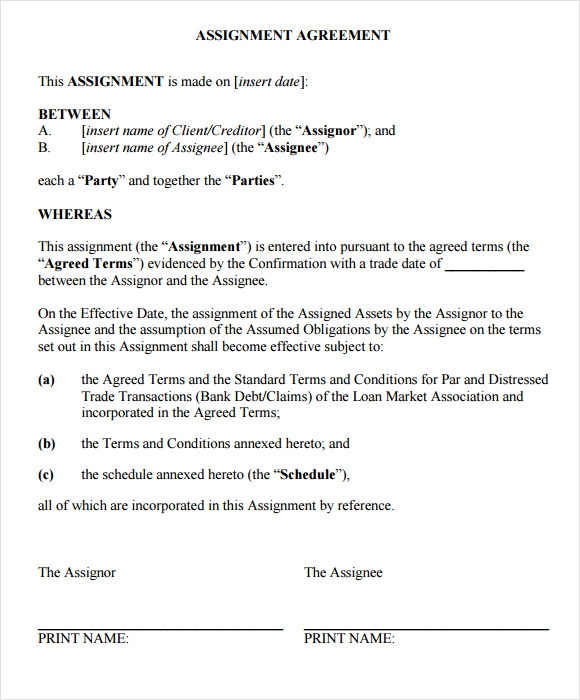 Assignment Agreement Template 7 Download Free Documents