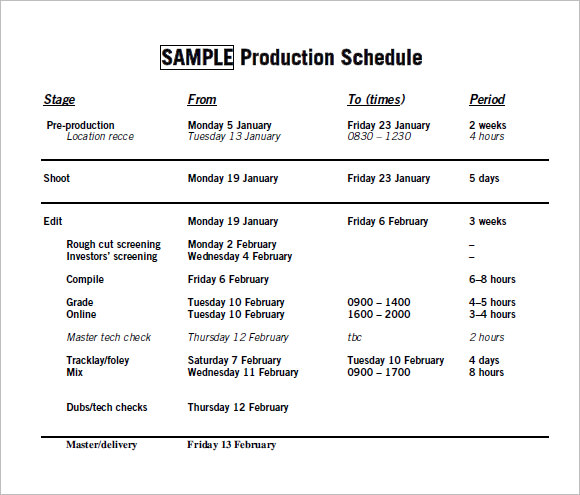 Sample Production Timeline   Examples Format