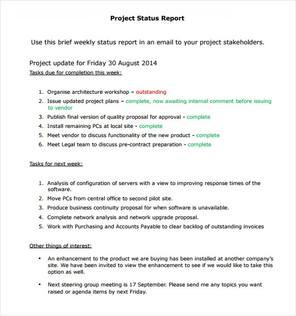 Sample Project Status Report 8 Examples Format – Sample Status Reports