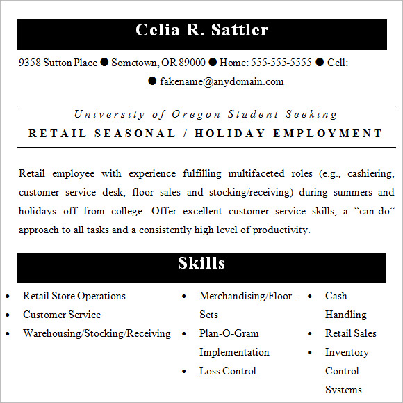 sample resume seasonal retail