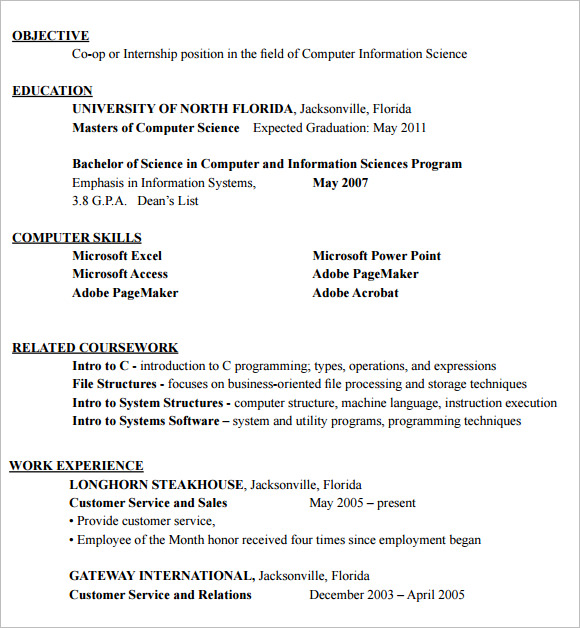 Resume Format For Internship Student  Internship Resume Sample For College Students