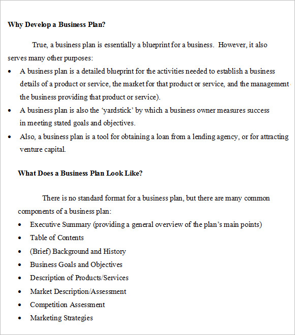 sample small business plans