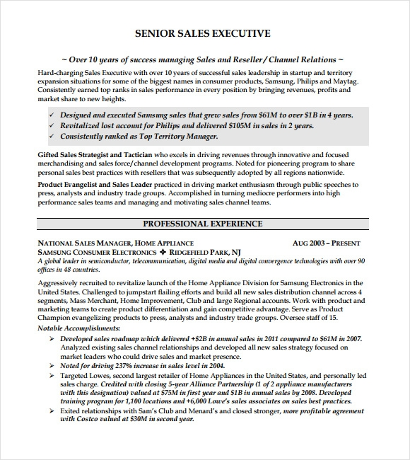 Executive Resume – 8+ Free Samples , Examples & Format | Sample ...