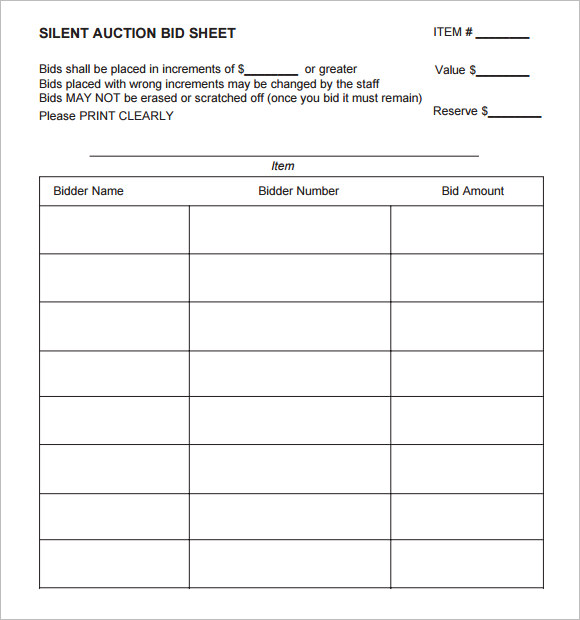 Sample Silent Auction Bid Sheet 6 Example Format – Bid Sheet Template Free