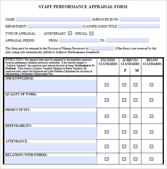 Staff Evaluation   Free Samples Examples Format