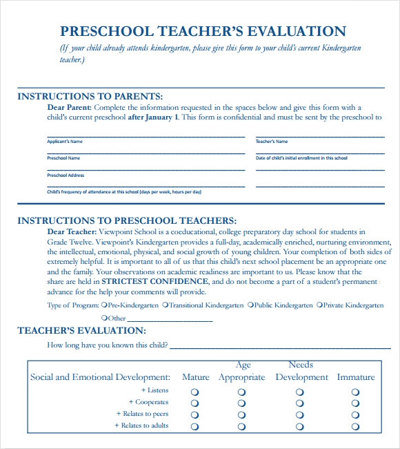 Sample Teacher Evaluation Form – 6+ Example, Format
