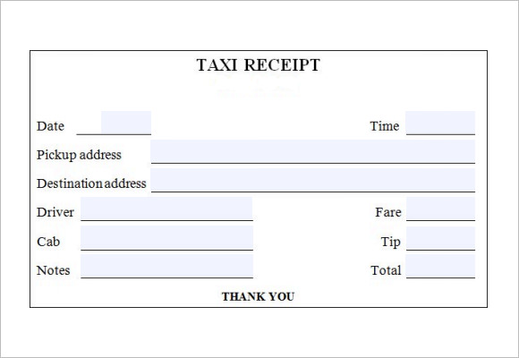 Cab Bill Template  Blank Receipts Templates