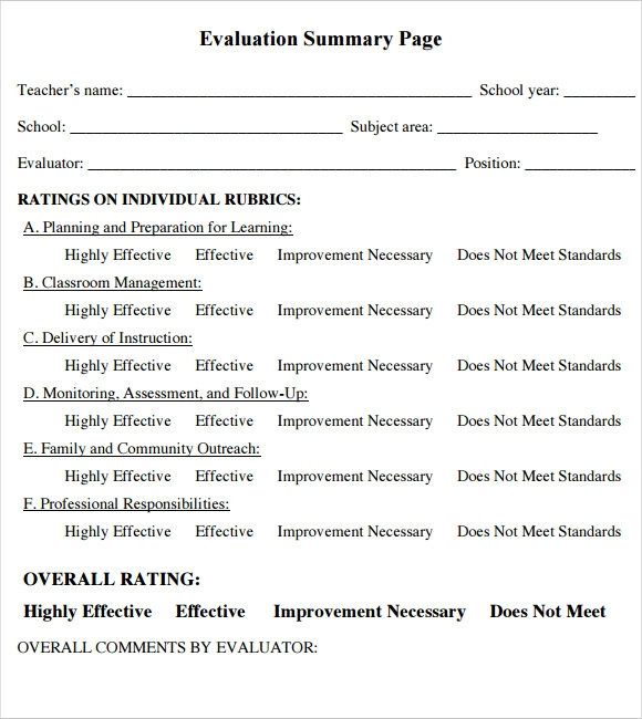 Sample Teacher Evaluation Form   Example Format