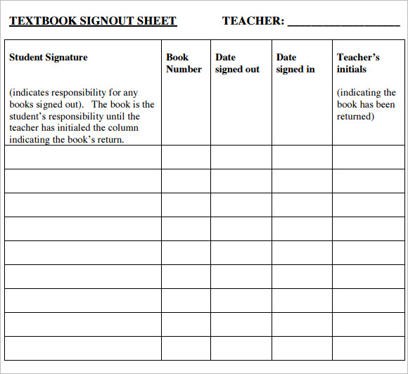 Sign Out Sheet Template   Free Samples  Examples  Format