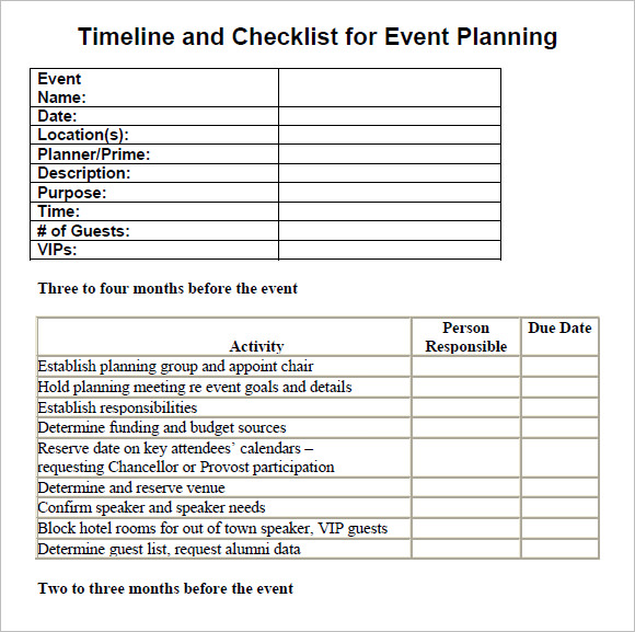 Sample Checklist Timeline Checklist For Event Planning Event