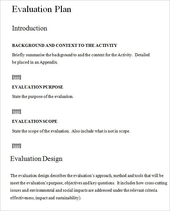 7 Evaluation Plan Templates Free Samples Examples Format – Evaluation Plan