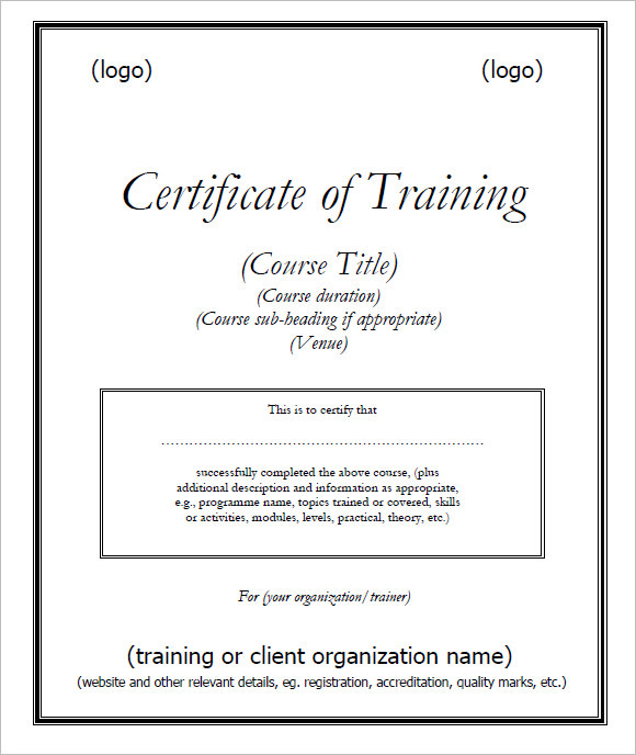 9+ Training Certificate Templates – Free Samples ...