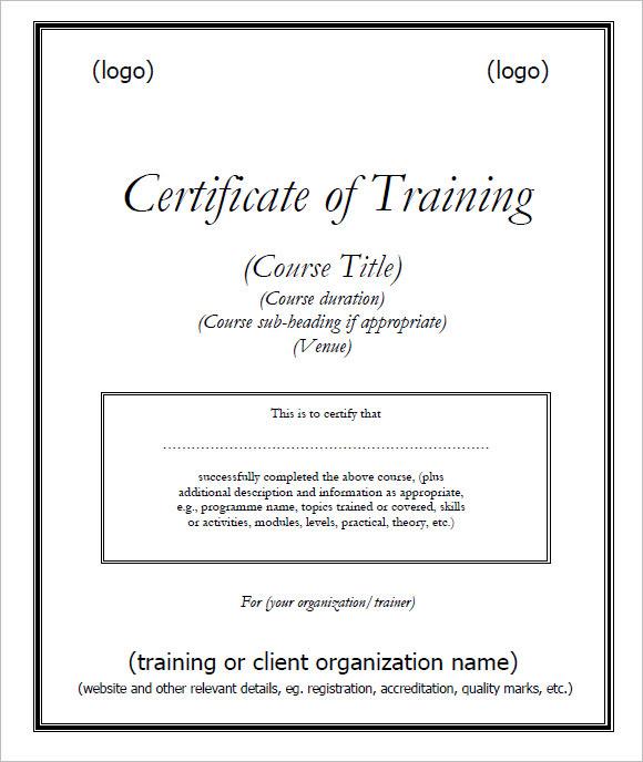 Sample Training Certificate Template
