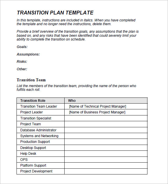 Transition Plan Template     8  Free Samples Examples Format L1WS9pLo
