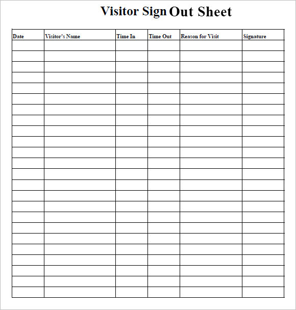 visitor sign in sign out sheet