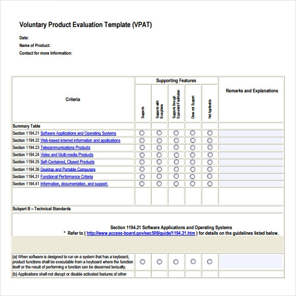 Sample Product Evaluations