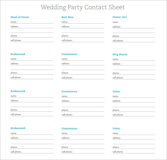 Wedding Party Contact Sheet Template