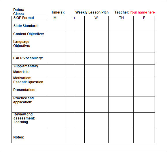 weekly lesson plan template doc download