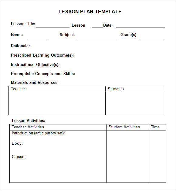 Weekly Lesson Plan Template For Preschool