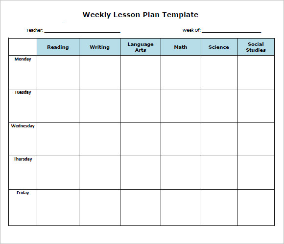 photo relating to Printable Weekly Lesson Plan Templates named No cost 8+ Weekly Lesson System Samples inside Google Docs MS Phrase