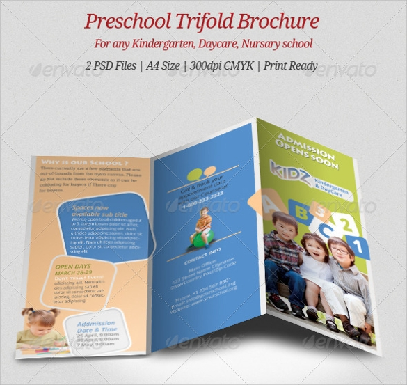 Preschool Brochure  Vector Eps Psd