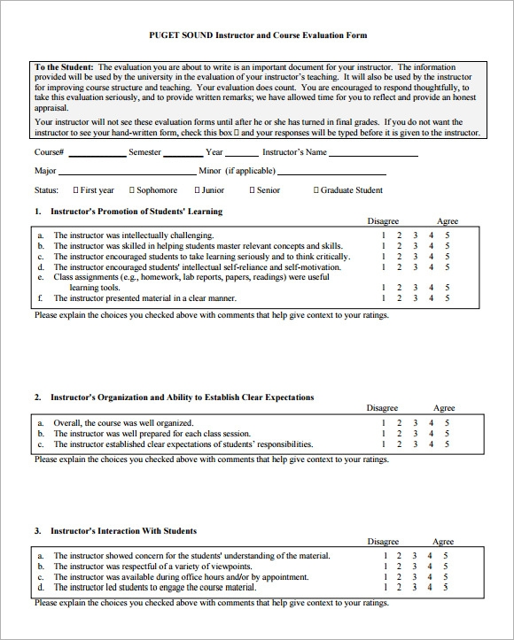 9 course evaluation forms sample free examples format for End of course evaluation template