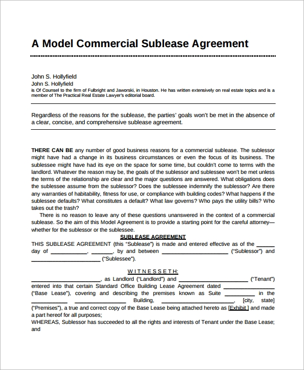 Business Sublease Agreement Template 28 Images Sle