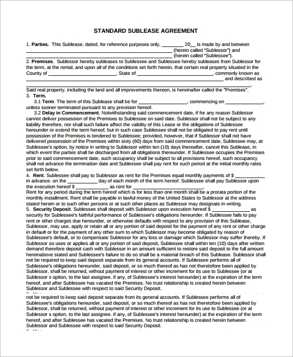 Sublease Agreement - 6+ Example, Format