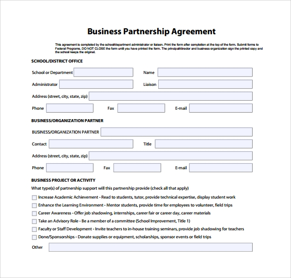 Sample Business Partnership Agreements Sample Templates - Simple business agreement template